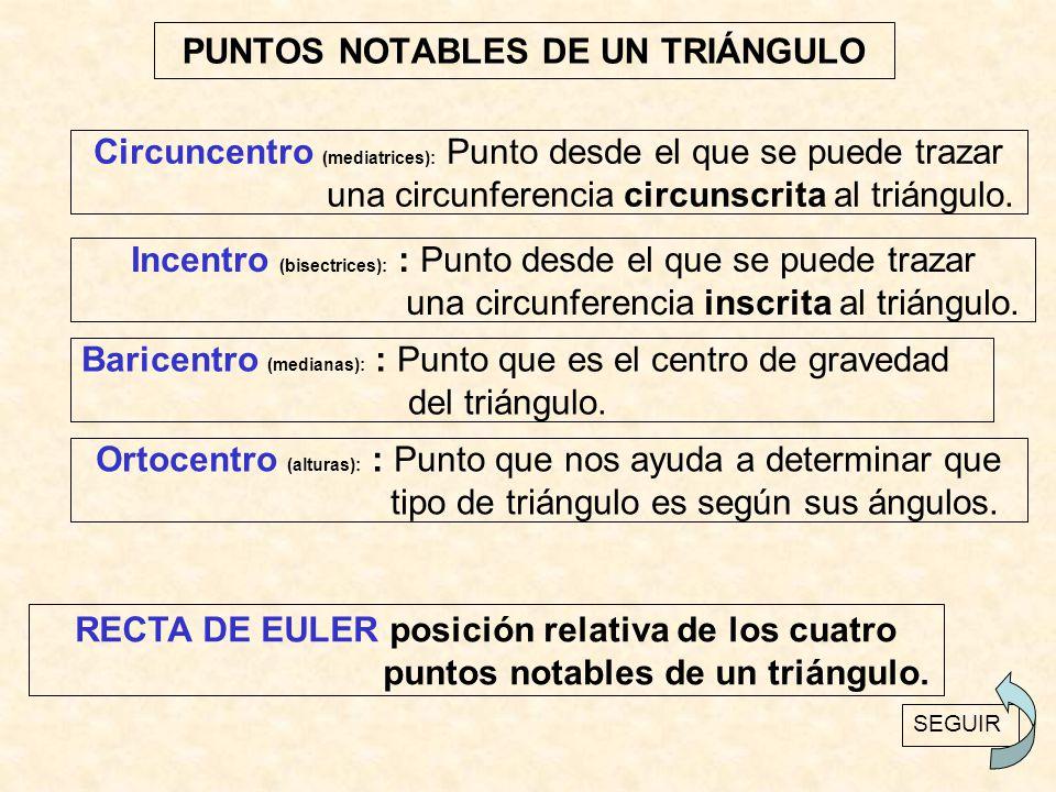 PUNTOS NOTABLES DE UN TRIÁNGULO