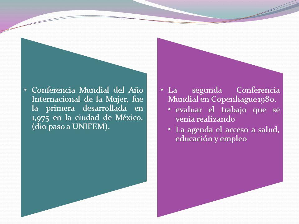 Conferencia Mundial del Año Internacional de la Mujer, fue la primera desarrollada en 1,975 en la ciudad de México. (dio paso a UNIFEM).
