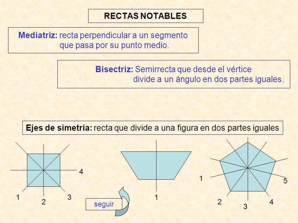 Ejes de simetría: recta que divide a una figura en dos partes iguales
