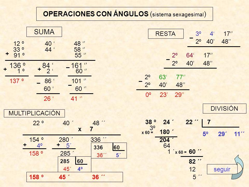 OPERACIONES CON ÁNGULOS (sistema sexagesimal)