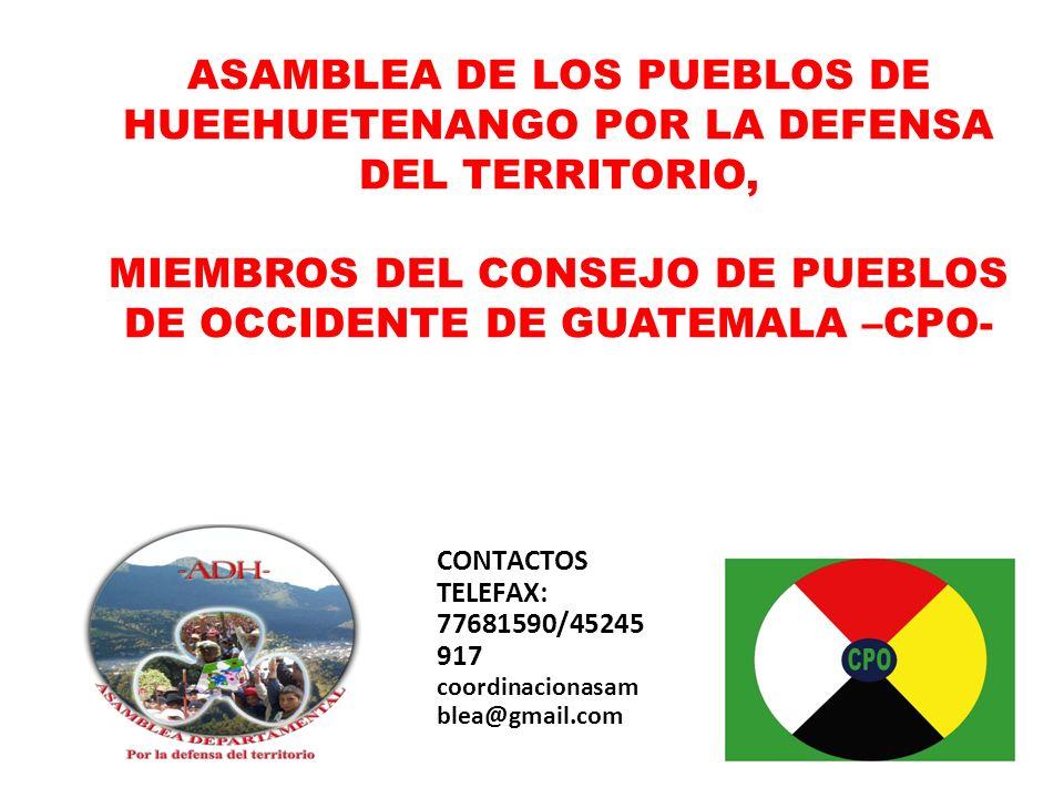 ASAMBLEA DE LOS PUEBLOS DE HUEEHUETENANGO POR LA DEFENSA DEL TERRITORIO, MIEMBROS DEL CONSEJO DE PUEBLOS DE OCCIDENTE DE GUATEMALA –CPO-