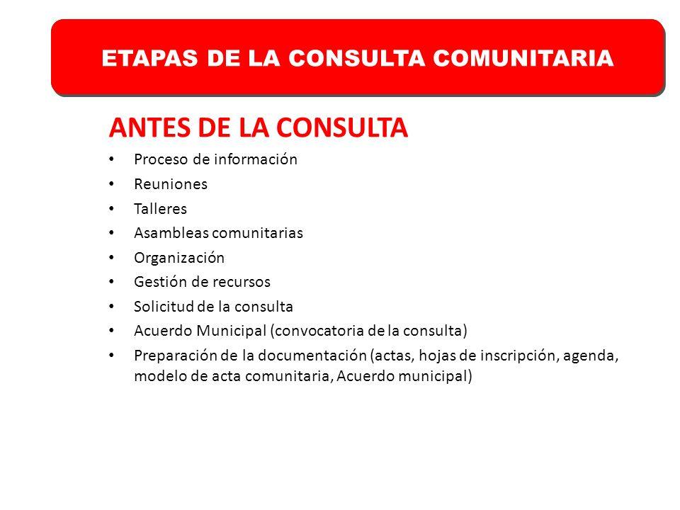 ANTES DE LA CONSULTA ETAPAS DE LA CONSULTA COMUNITARIA