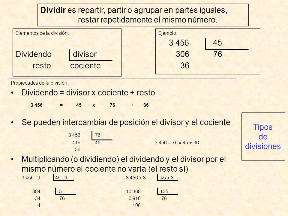 Dividendo = divisor x cociente + resto 3 456 = 45 x 76 + 36