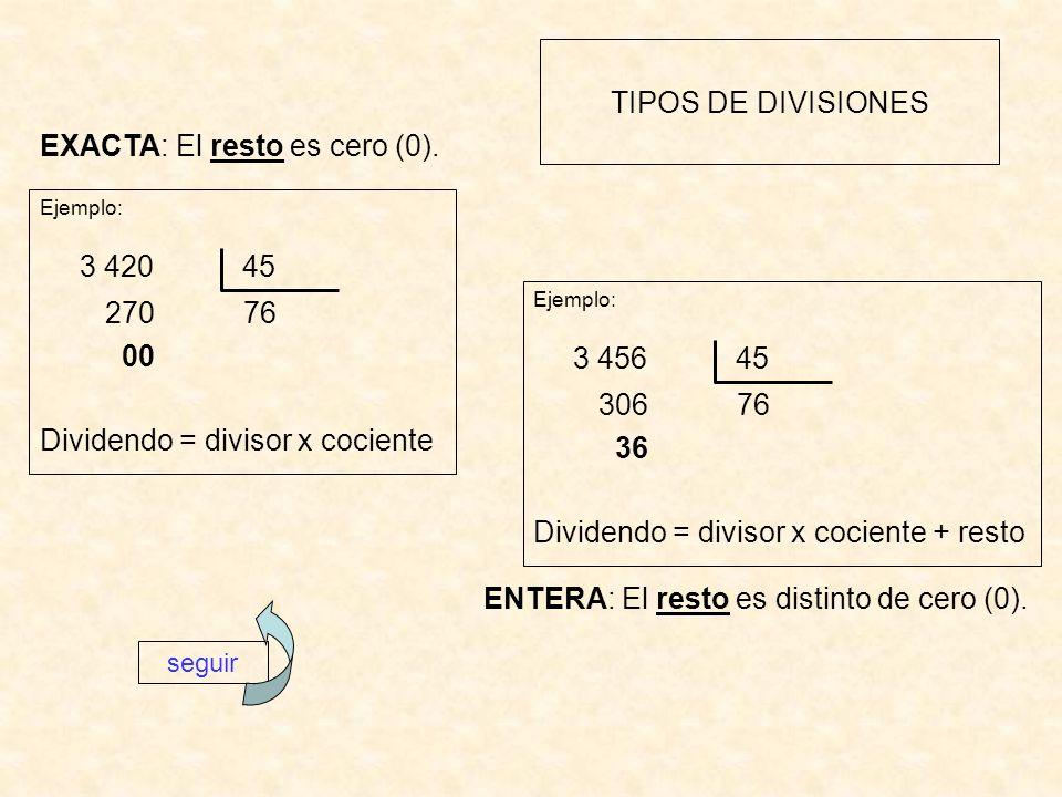 3 420 45 3 456 45 TIPOS DE DIVISIONES EXACTA: El resto es cero (0).