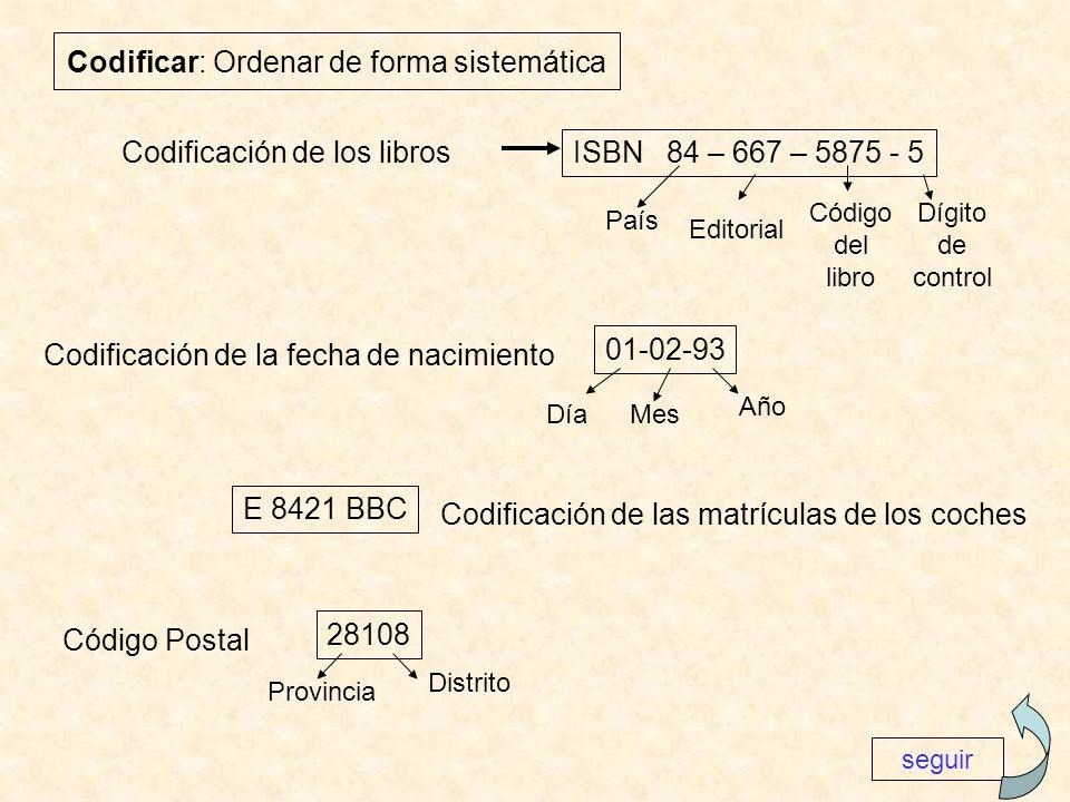 Codificar: Ordenar de forma sistemática