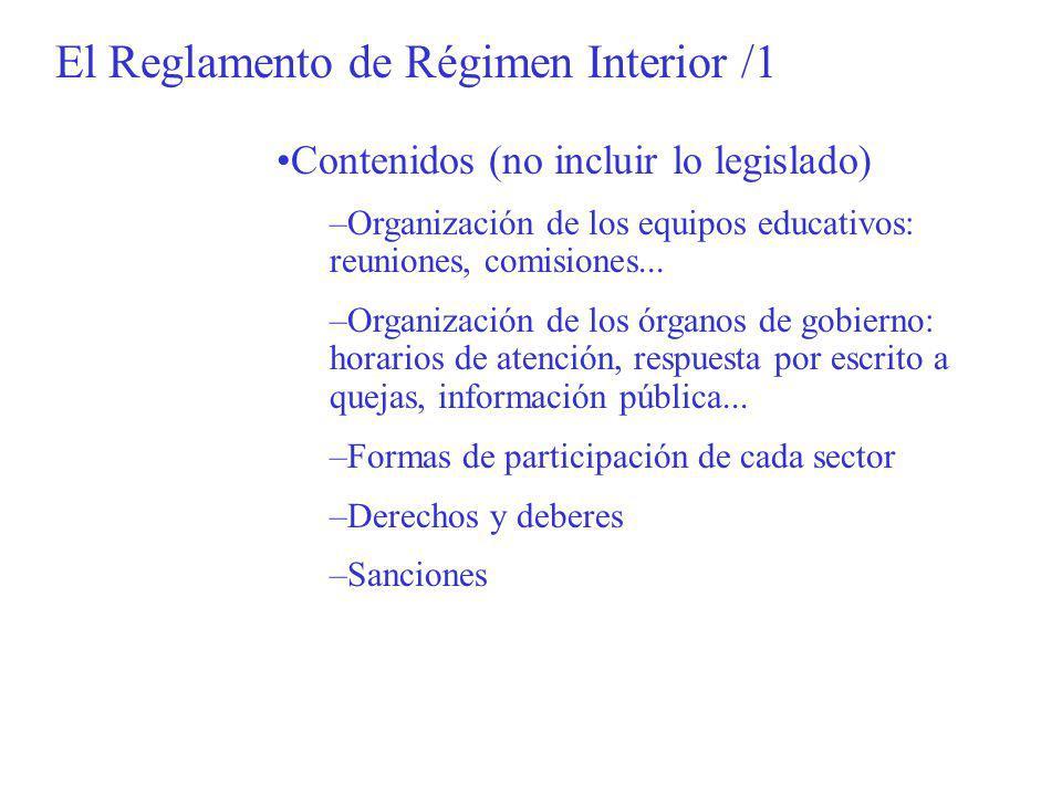 El Reglamento de Régimen Interior /1