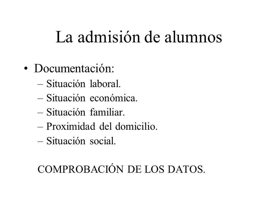 La admisión de alumnos Documentación: Situación laboral.