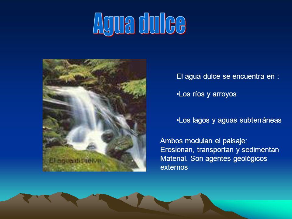 Agua dulce El agua dulce se encuentra en : Los ríos y arroyos
