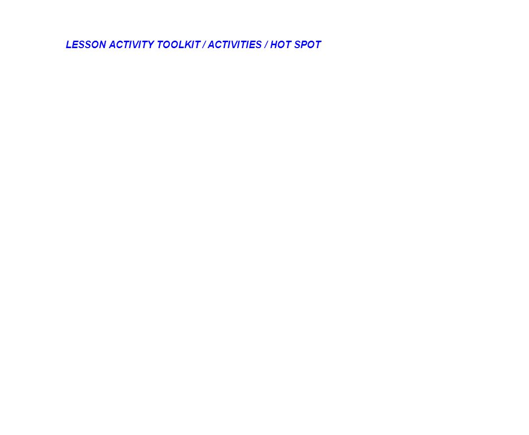 LESSON ACTIVITY TOOLKIT / ACTIVITIES / HOT SPOT