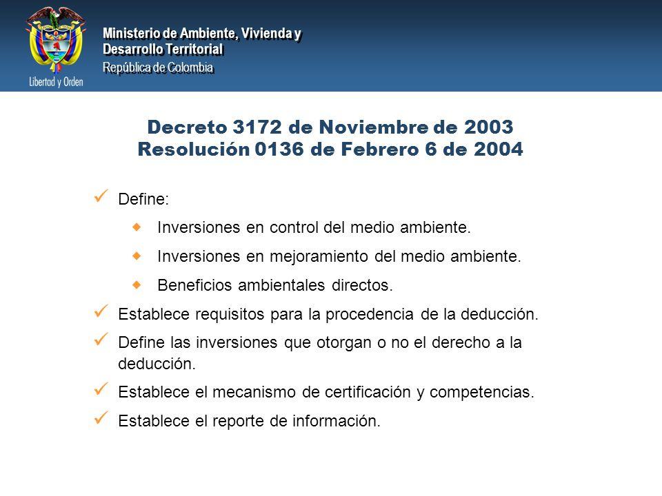 Decreto 3172 de Noviembre de 2003 Resolución 0136 de Febrero 6 de 2004