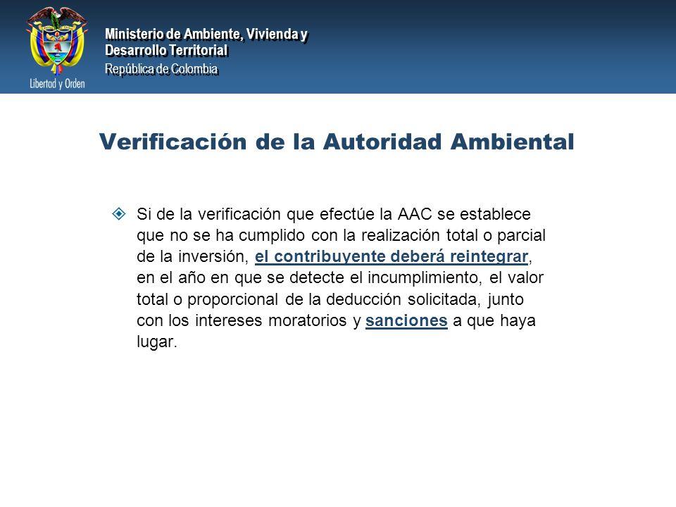 Verificación de la Autoridad Ambiental