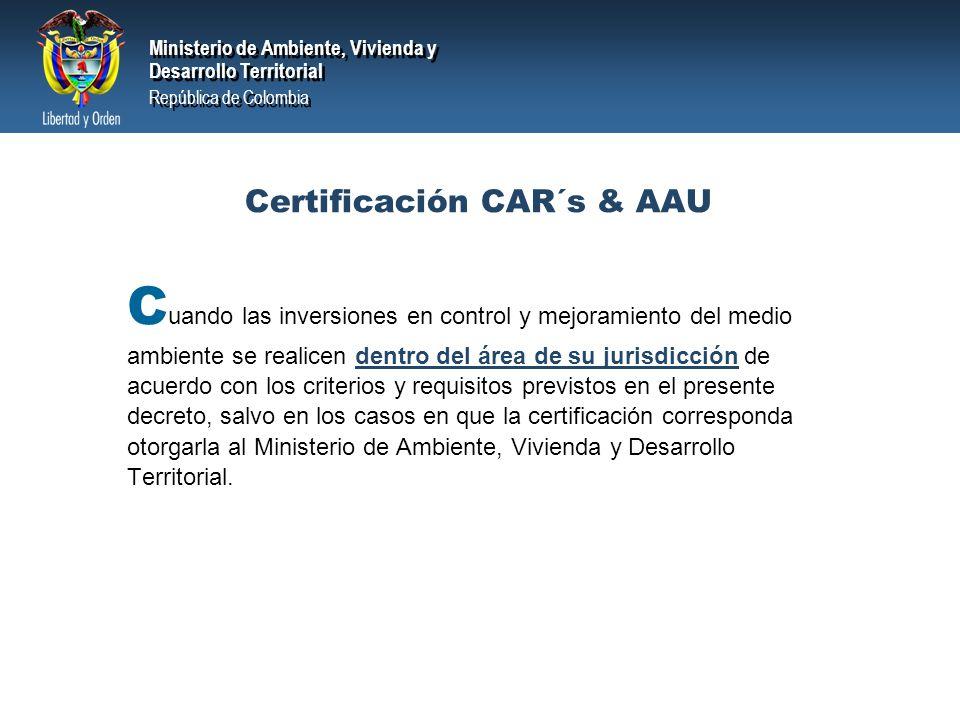 Certificación CAR´s & AAU