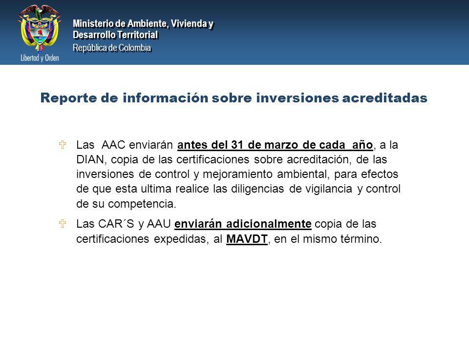 Reporte de información sobre inversiones acreditadas