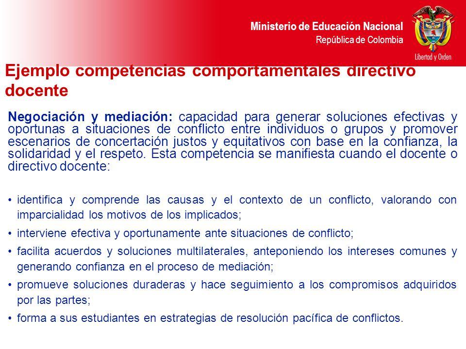 Ejemplo competencias comportamentales directivo docente