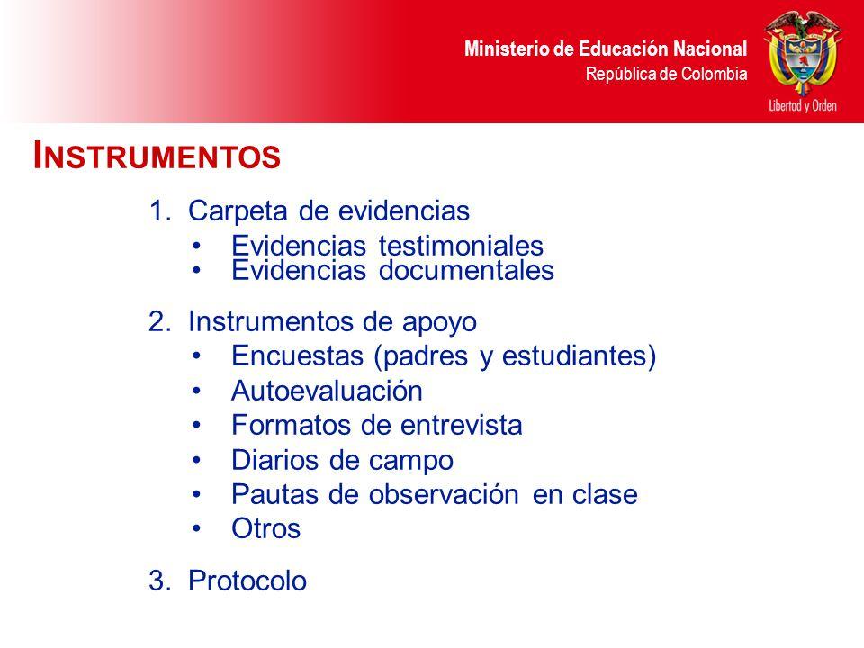 Instrumentos Carpeta de evidencias Evidencias testimoniales