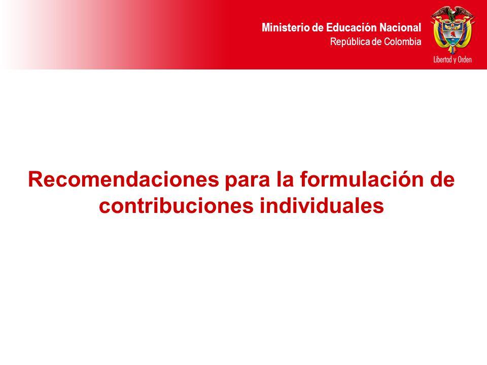 Recomendaciones para la formulación de contribuciones individuales