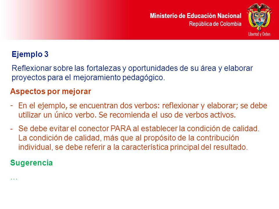 Ejemplo 3 Reflexionar sobre las fortalezas y oportunidades de su área y elaborar proyectos para el mejoramiento pedagógico.