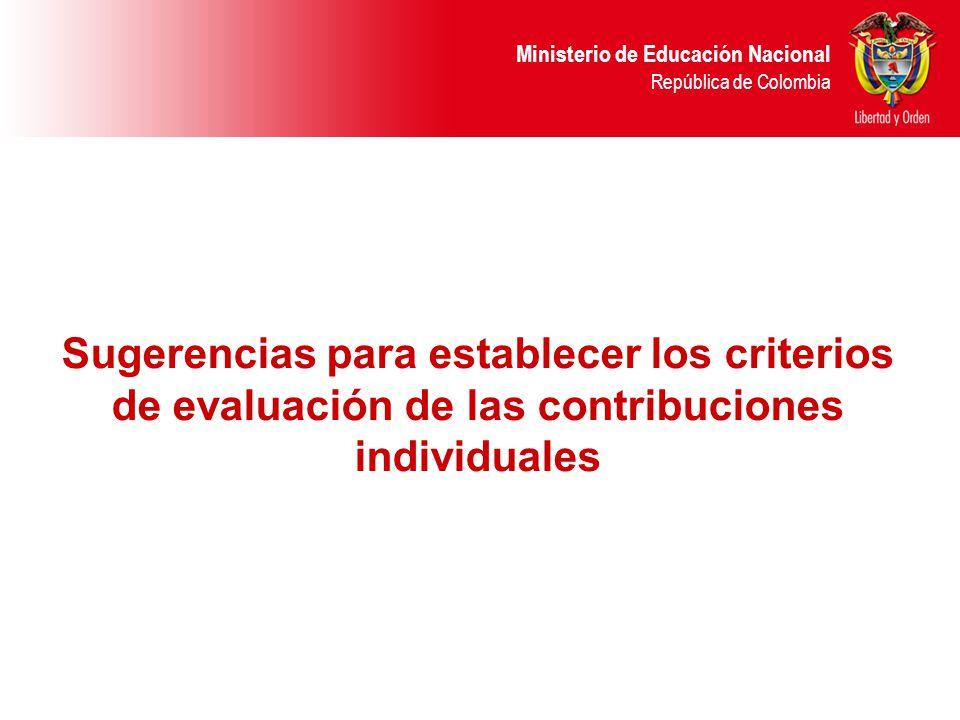 Sugerencias para establecer los criterios de evaluación de las contribuciones individuales