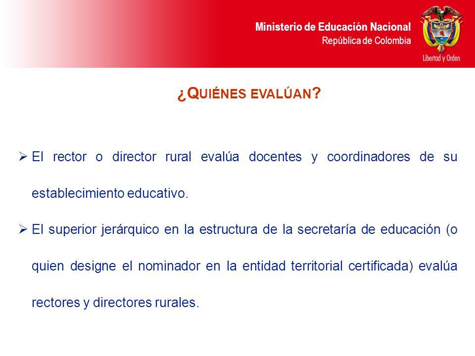 ¿Quiénes evalúan El rector o director rural evalúa docentes y coordinadores de su establecimiento educativo.