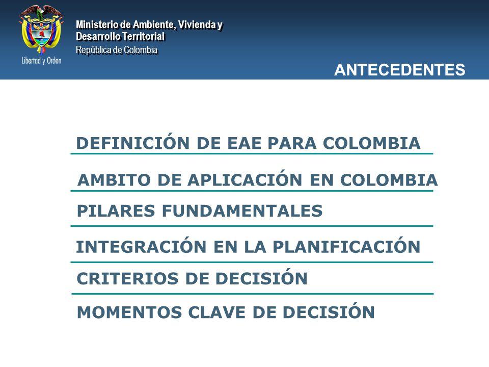 ANTECEDENTES DEFINICIÓN DE EAE PARA COLOMBIA. AMBITO DE APLICACIÓN EN COLOMBIA. PILARES FUNDAMENTALES.
