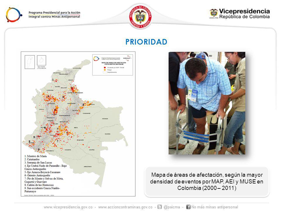 PRIORIDAD Mapa de áreas de afectación, según la mayor densidad de eventos por MAP, AEI y MUSE en Colombia (2000 – 2011)