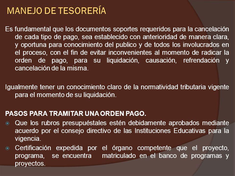 MANEJO DE TESORERÍA