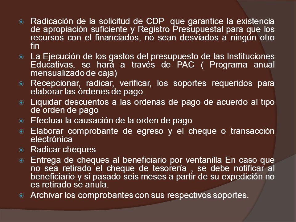 Radicación de la solicitud de CDP que garantice la existencia de apropiación suficiente y Registro Presupuestal para que los recursos con el financiados, no sean desviados a ningún otro fin