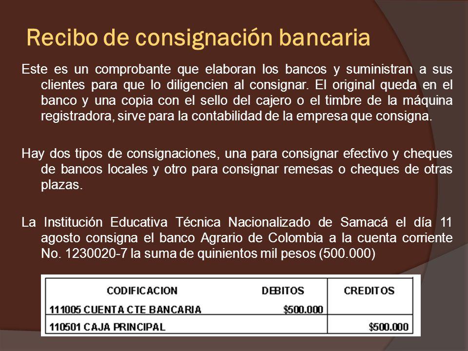 Recibo de consignación bancaria