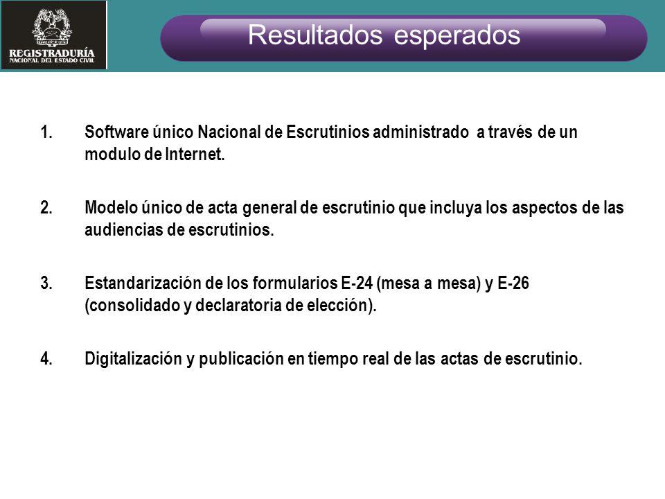 Resultados esperados Software único Nacional de Escrutinios administrado a través de un modulo de Internet.