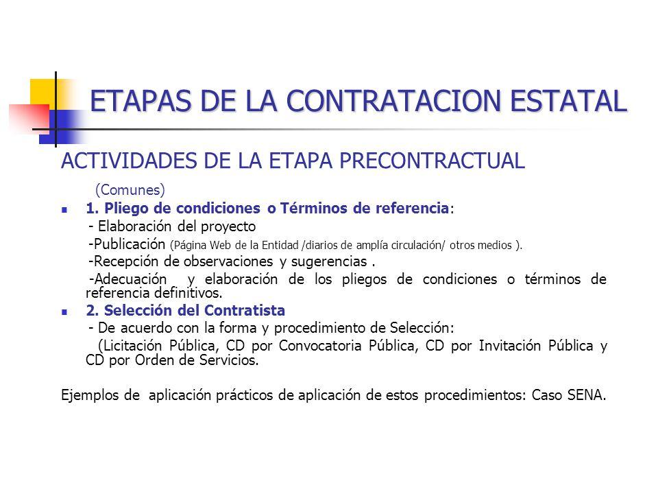 ETAPAS DE LA CONTRATACION ESTATAL