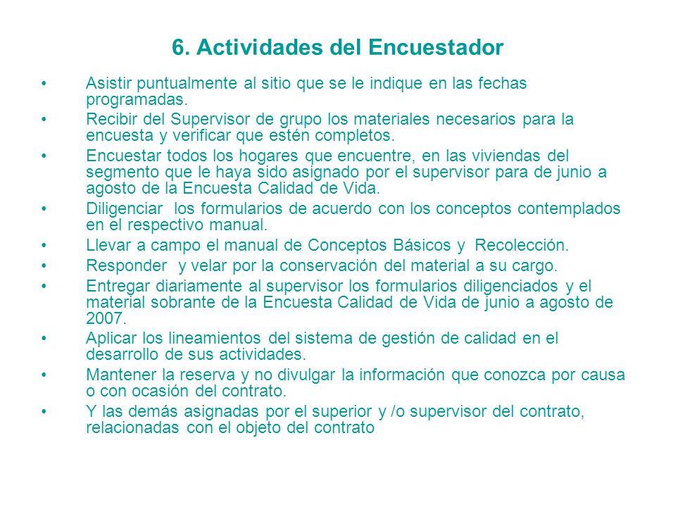 6. Actividades del Encuestador