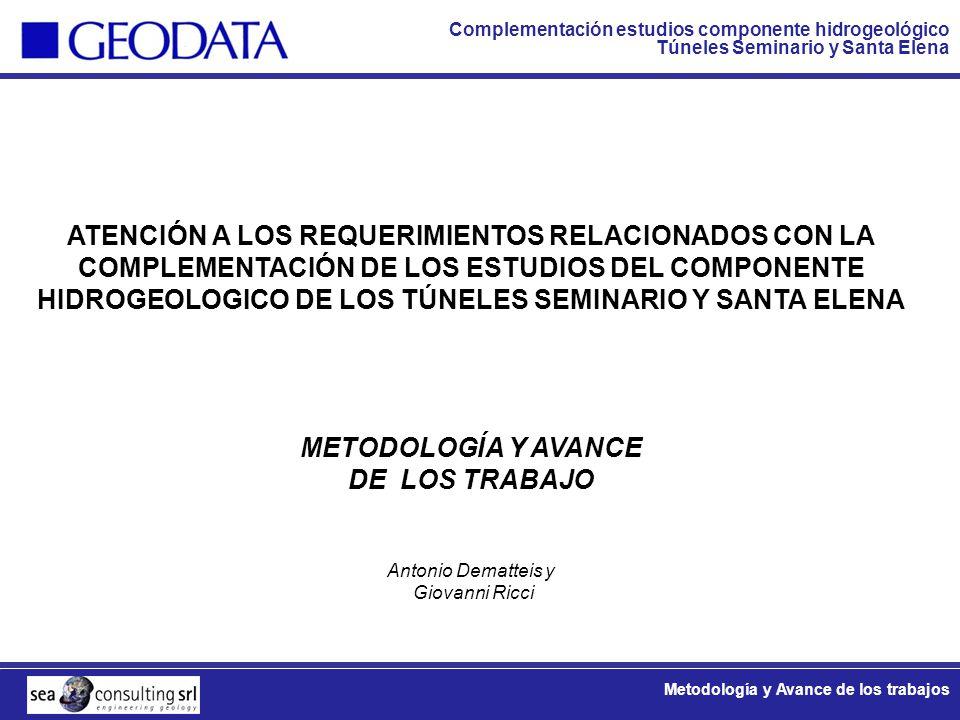 ATENCIÓN A LOS REQUERIMIENTOS RELACIONADOS CON LA COMPLEMENTACIÓN DE LOS ESTUDIOS DEL COMPONENTE HIDROGEOLOGICO DE LOS TÚNELES SEMINARIO Y SANTA ELENA