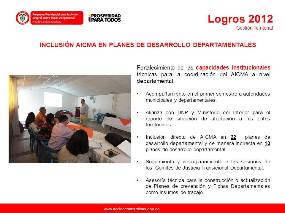 Logros 2012 Gestión Territorial. INCLUSIÓN AICMA EN PLANES DE DESARROLLO DEPARTAMENTALES.