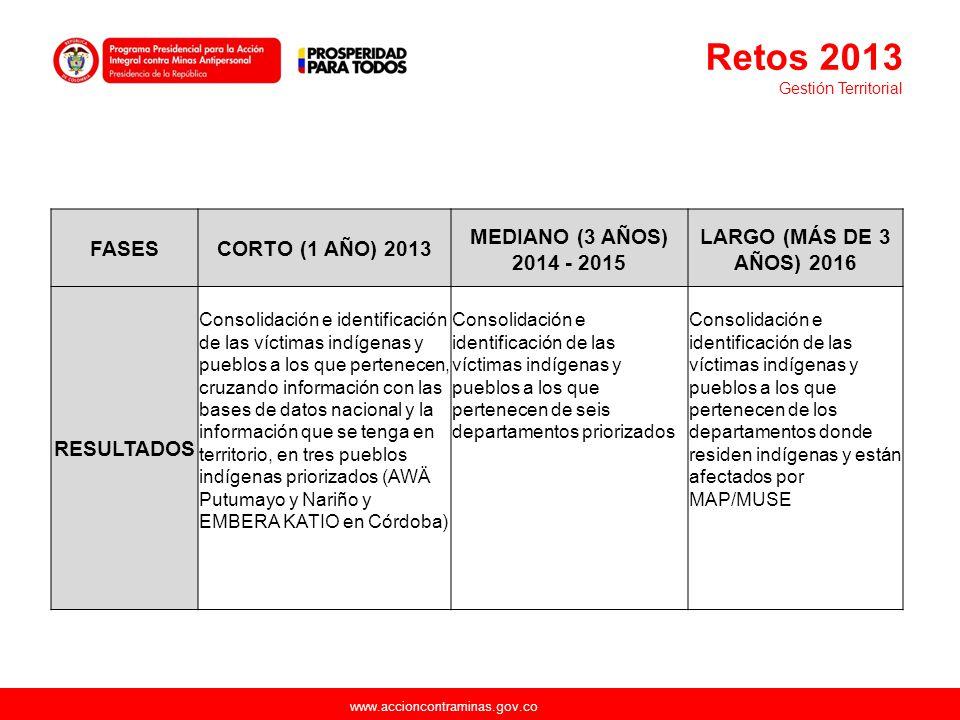 Retos 2013 FASES CORTO (1 AÑO) 2013 MEDIANO (3 AÑOS) 2014 - 2015