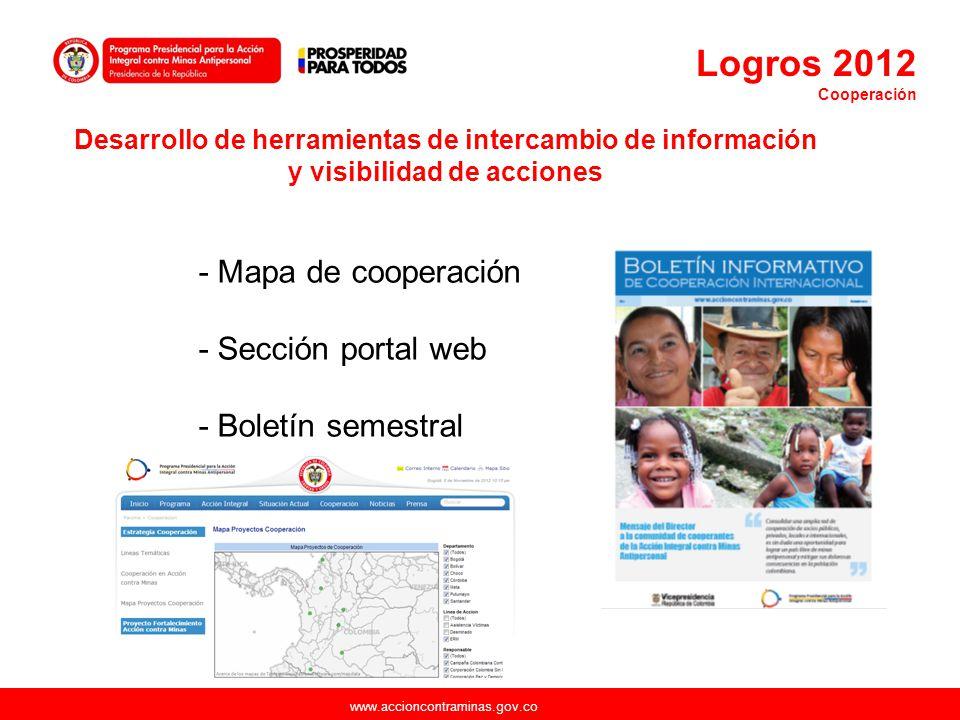 Logros 2012 - Mapa de cooperación - Sección portal web