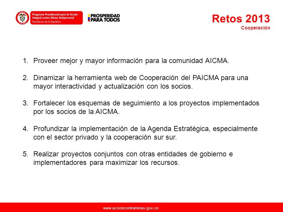 Retos 2013 Proveer mejor y mayor información para la comunidad AICMA.