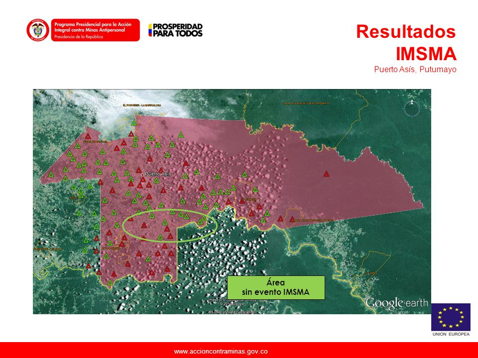 Resultados IMSMA Puerto Asís, Putumayo Área sin evento IMSMA