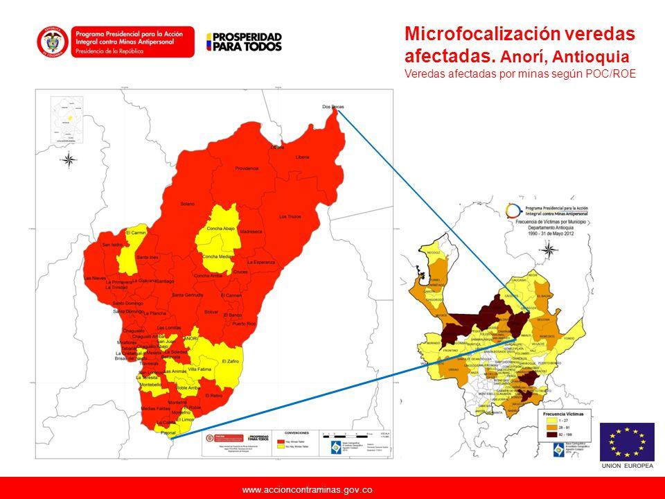 Microfocalización veredas afectadas. Anorí, Antioquia
