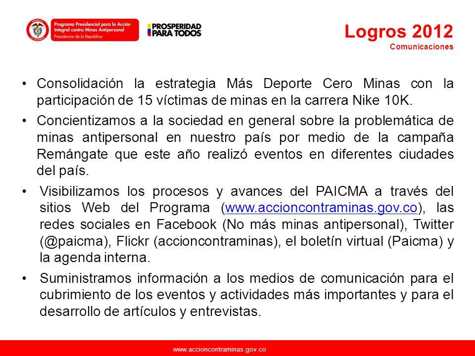 Logros 2012 Comunicaciones. Consolidación la estrategia Más Deporte Cero Minas con la participación de 15 víctimas de minas en la carrera Nike 10K.