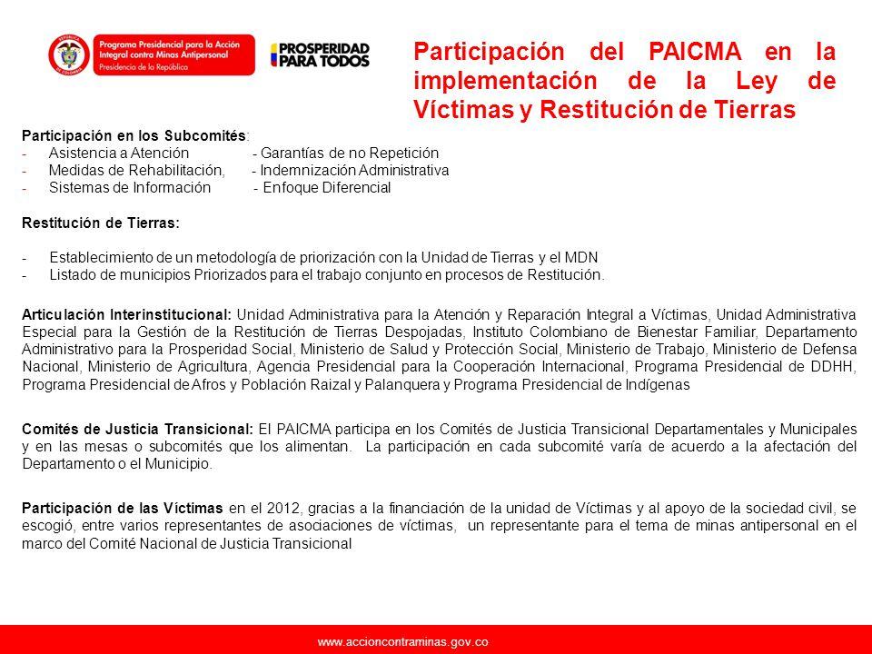 Participación del PAICMA en la implementación de la Ley de Víctimas y Restitución de Tierras