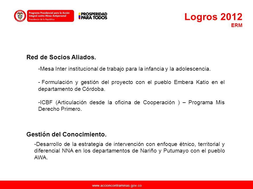 Logros 2012 Red de Socios Aliados. Gestión del Conocimiento.