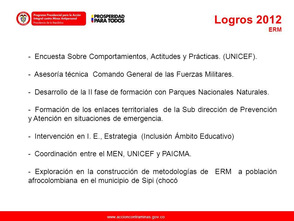 Logros 2012 ERM. Encuesta Sobre Comportamientos, Actitudes y Prácticas. (UNICEF). Asesoría técnica Comando General de las Fuerzas Militares.