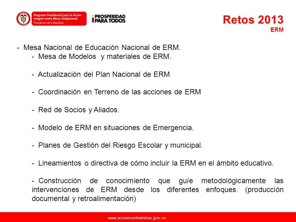 Retos 2013 Mesa Nacional de Educación Nacional de ERM.