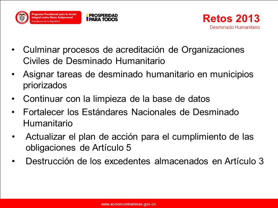 Retos 2013 Desminado Humanitario. Culminar procesos de acreditación de Organizaciones Civiles de Desminado Humanitario.