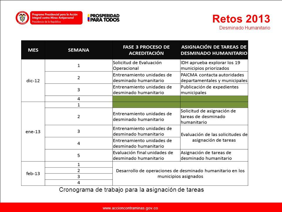Retos 2013 Cronograma de trabajo para la asignación de tareas