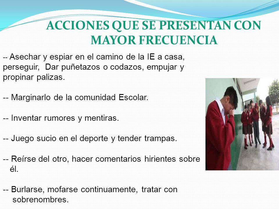 ACCIONES QUE SE PRESENTAN CON MAYOR FRECUENCIA