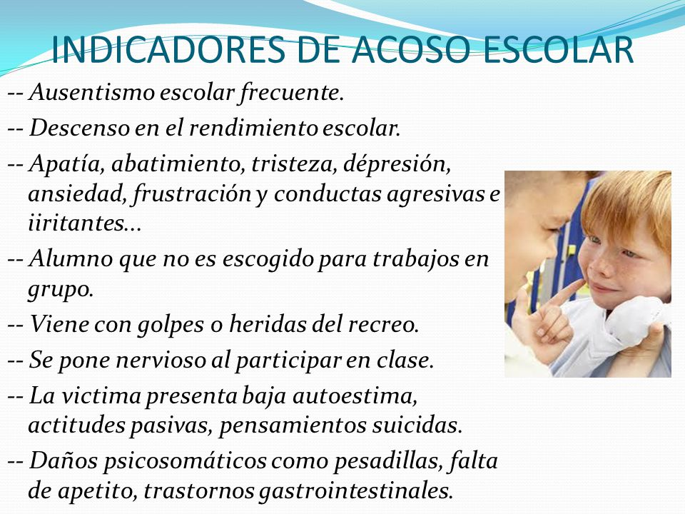 INDICADORES DE ACOSO ESCOLAR