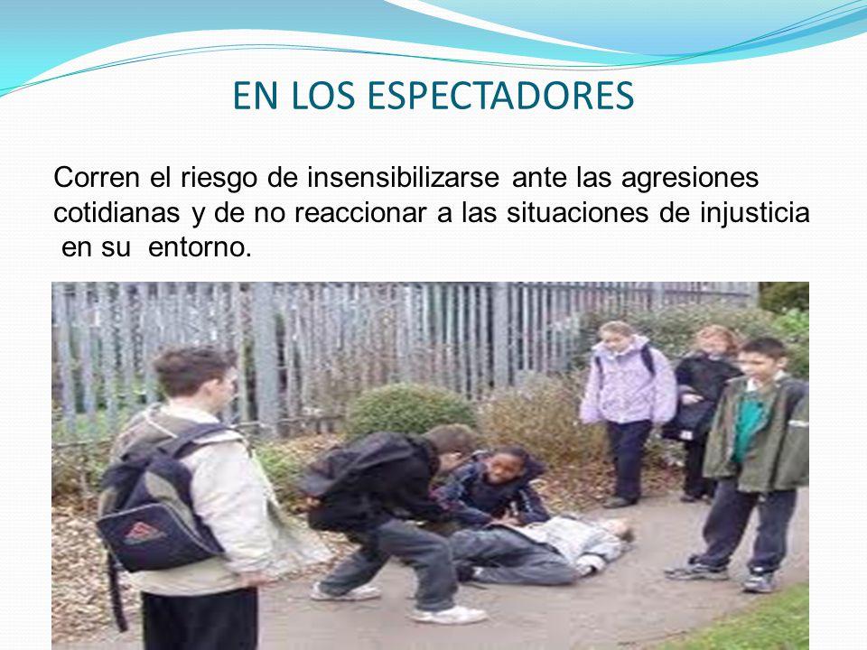 EN LOS ESPECTADORES Corren el riesgo de insensibilizarse ante las agresiones. cotidianas y de no reaccionar a las situaciones de injusticia.
