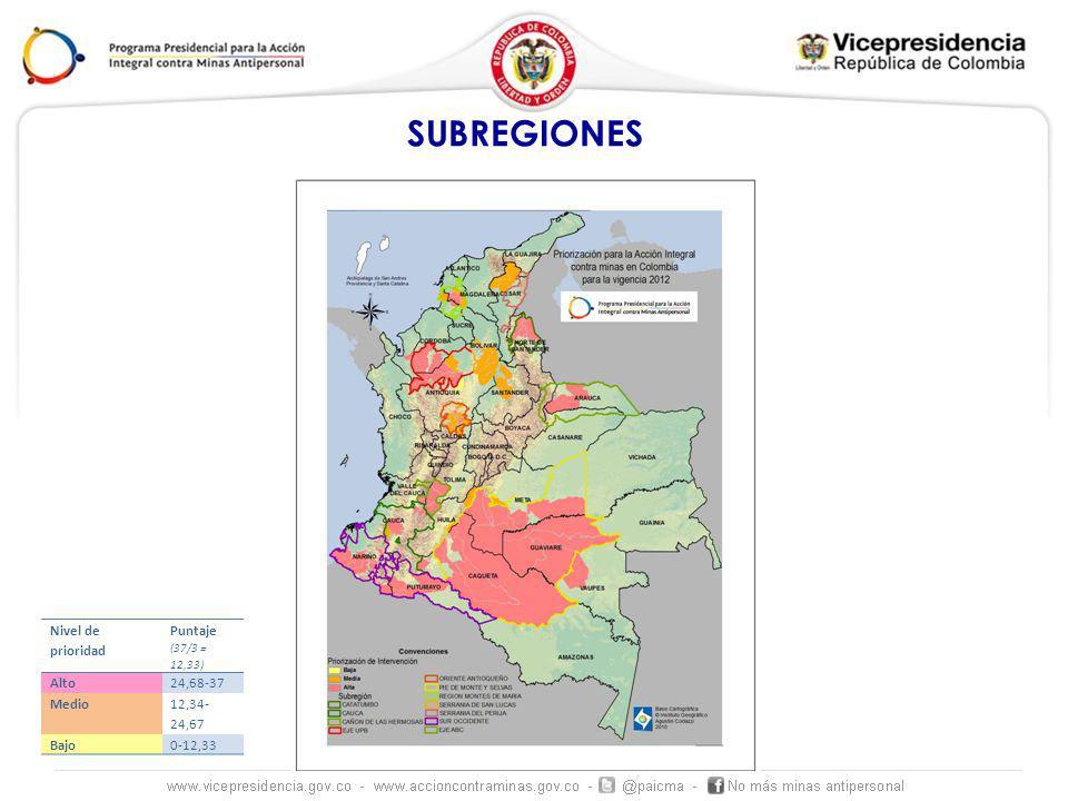 SUBREGIONES Nivel de prioridad Puntaje (37/3 = 12,33) Alto 24,68-37