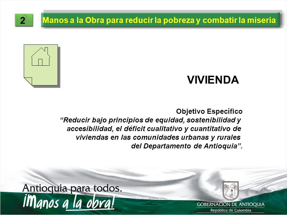2 Manos a la Obra para reducir la pobreza y combatir la miseria. VIVIENDA. Objetivo Específico.